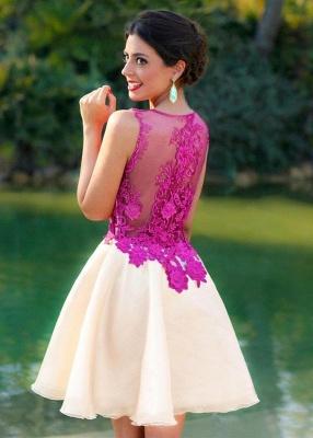 Fuchsia Lace Applique Mini  Homecoming Dresses Sleeveless A-Line Short Cocktail Dress_3