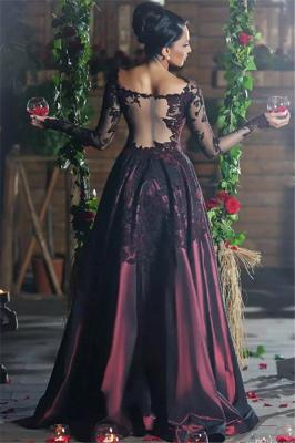 Burgundy Long Sleeve Evening Dresses  Lace Applique Sheer Back Formal Prom Dresses_3