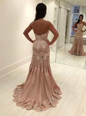Sheath Sleeveless Sweetheart Prom Dresses | Lace Sweep-train Evening Gowns WW0017_4