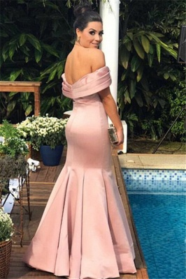 Sexy Pink Mermaid Evening Dress | Off the Shoulder Floor Length Prom Dress_3
