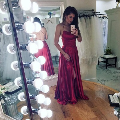 Simple A-Line Backless Prom Dresses  | Spaghetti Straps Side Slit Evening Gowns_3