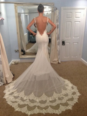 Vintage Spaghetti Strap Mermaid Backless Bridal Gown Sexy Trumpet Lace Plus Size Wedding Dress_3