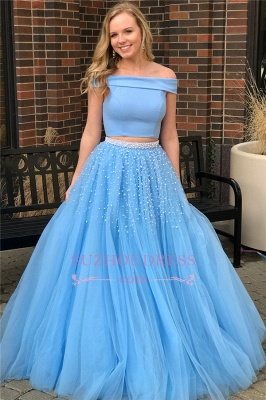 Elegant Two-Piece Blue Evening Dresses | Popular Off-The-Shoulder Beads Prom Dresses_1