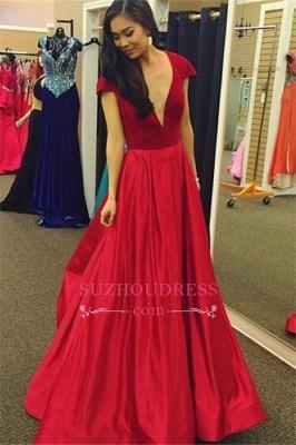 Cap-Sleeves Sexy A-Line Red Deep-V-Neck Velvet Prom Dress_3