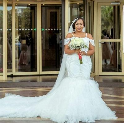 Mermaid Appliques Plus Size Bride Dress  Gorgeous Lace Cap-Sleeve Wedding Dress_5