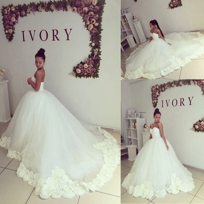 Sweetheart Princess Ball Gown Wedding Dress Open Back Bridal Gowns with Flowers_3