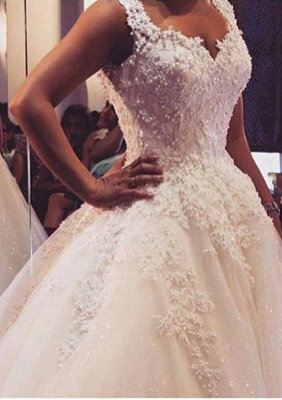 Latest Lace Ball Gown Princess Dress with Beadings Court Train Tulle Bridal Gowns_1