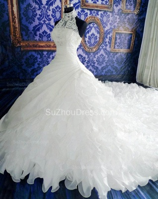 High Neck White Sheath Halter Organza Wedding Dresses Court Train Fitted Unique Plus Size Bridal Gowns with Beadings_2