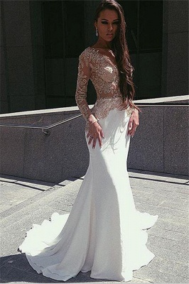 Champagne Gold Appliques Long Sleeves Prom Dress  Mermaid Sexy Evening Gown BA4708_1