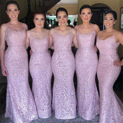 Spaghetti Straps Pink Bridesmaid Dresses  |  Sleeveless Sexy Maid of Honor Dresses Long_3
