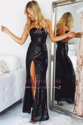 Sexy Sequins Black Evening Dresses | Split Strapless  Prom Dresses  JJ0182_1