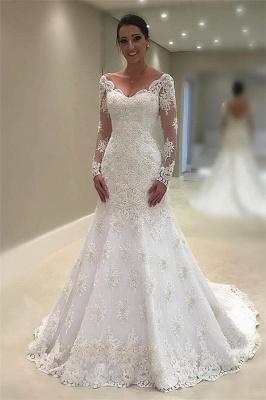 Elegant Tulle Long Sleeves Wedding Dresses  | V-Neck Mermaid Appliques Bridal Gown_1