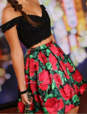 Off-the-Shoulder Black Two-Piece Lace-Beaded Floral Homecoming Dresses_2