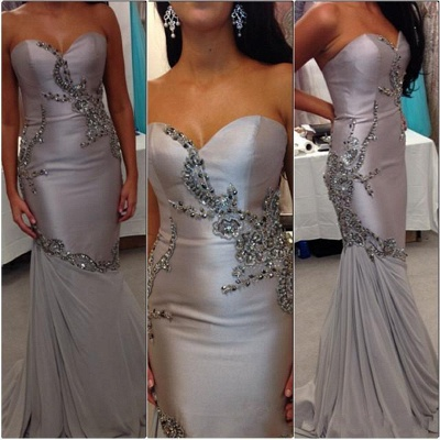 Sweetheart Mermaid Beading Evening Gown New Arrival Sexy Long Party Dress_3