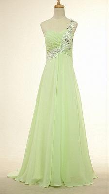 One Shoulder Lace Chiffon Long Prom Dress Popular Sweep Train Plus Size Dresses for Women_1