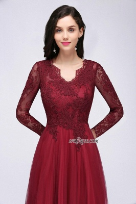 A-line Burgundy Floor-Length V-Neck Long-Sleeves Prom Dresses_10