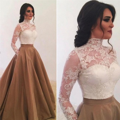 High Neck Long Sleeves Lace Evening Dress  Elegant Formal Dresses with Pockets_3