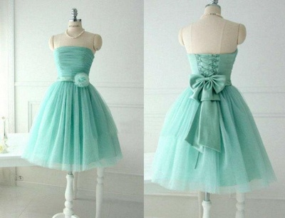 Cute Light Green Knee Length Homecoming Dresses Hot Sale Strapless Puffy  Party Dress_3