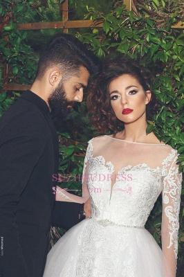 Appliques Long Sleves Bride Dress Elegant Tulle Crystal White Wedding Dress_1