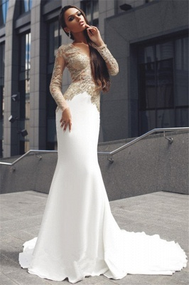 Champagne Gold Appliques Long Sleeves Prom Dress  Mermaid Sexy Evening Gown BA4708_3