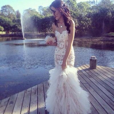 Ruffles Tulle Lace Prom Dresses Sweetheart Sheath Evening Dress_4