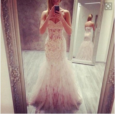 Ruffles Tulle Lace Prom Dresses Sweetheart Sheath Evening Dress_3
