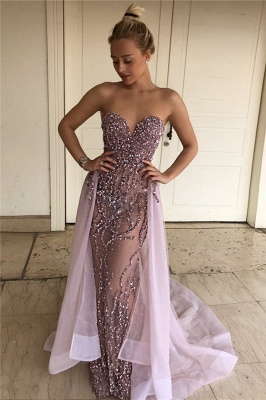 Lalic Sweetheart Beads Sequins Evening Dresses Overskirt Crystals Sexy Prom Dress FB0114_3