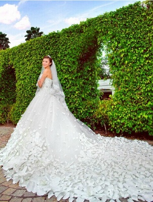 Gorgeous Sweetheart Crystal Wedding Dress Cathedral Train Flowers  Bridal Gown_4