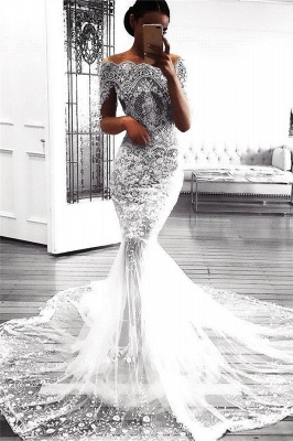 Sexy Mermaid Long Sleeve Lace Wedding Dress Sexy | Flowers See Through Tulle Bride Dress_1