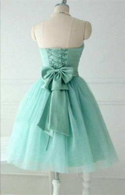 Cute Light Green Knee Length Homecoming Dresses Hot Sale Strapless Puffy  Party Dress_2