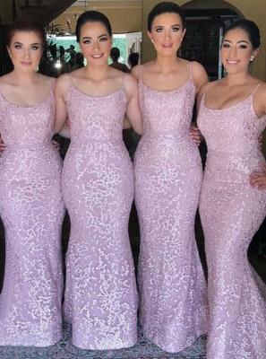 Spaghetti Straps Pink Bridesmaid Dresses  |  Sleeveless Sexy Maid of Honor Dresses Long_1