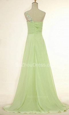 One Shoulder Lace Chiffon Long Prom Dress Popular Sweep Train Plus Size Dresses for Women_2