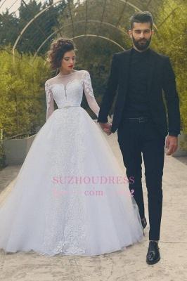Appliques Long Sleves Bride Dress Elegant Tulle Crystal White Wedding Dress_3