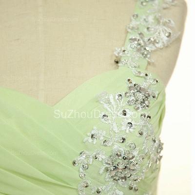 One Shoulder Lace Chiffon Long Prom Dress Popular Sweep Train Plus Size Dresses for Women_4
