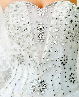 Gorgeous Sweetheart Crystal Wedding Dress Cathedral Train Flowers  Bridal Gown_5
