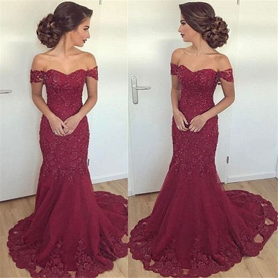 Maroon Off The Shoulder Lace Evening Dress Mermaid Elegant  Formal Dress  BA6436_3