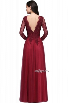 A-line Burgundy Floor-Length V-Neck Long-Sleeves Prom Dresses_9