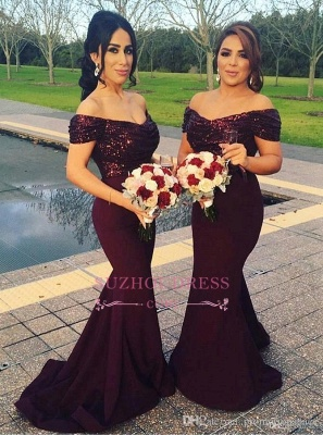 Off-The-Shoulder Short Sleeves Prom Dress Sequins Mermaid Long Evening Dresses_4