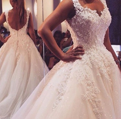 Latest Lace Ball Gown Princess Dress with Beadings Court Train Tulle Bridal Gowns_3