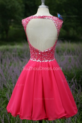 Short Beading Prom Gowns  V Neck Sequined Crystal Zipper Peachblow Chiffon Evening Dresses_4