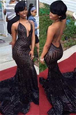 Sexy Black Mermaid Sequined Prom Dresses  Backless V-Neck Evening Gowns SK0096_2