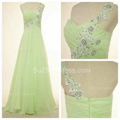 One Shoulder Lace Chiffon Long Prom Dress Popular Sweep Train Plus Size Dresses for Women_3
