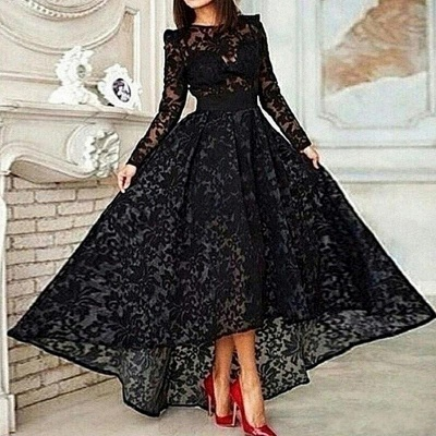 Black Hi-Lo Long Sleeve Lace Prom Dress Unique Custom Made Evening Dresses for Women_2