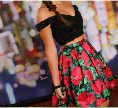 Off-the-Shoulder Black Two-Piece Lace-Beaded Floral Homecoming Dresses_4