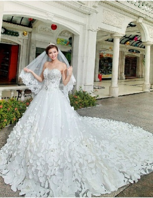 Gorgeous Sweetheart Crystal Wedding Dress Cathedral Train Flowers  Bridal Gown_3