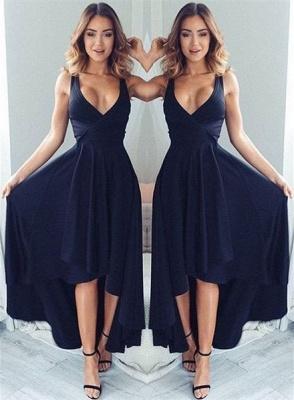 Sashes Elegant V-neck Party Dress  A-line Black High low Evening Dress LPL065_4