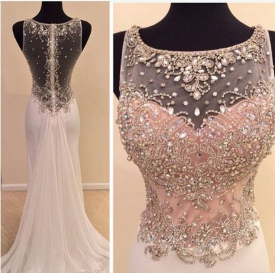 New Arrival Crystal Chiffon Prom Dress with Beadings Mermaid Sheer Back Evening Gown_2