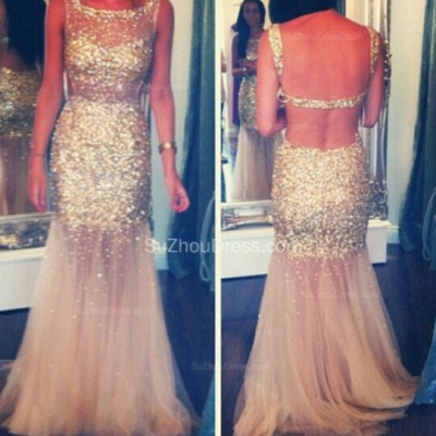 Gold Sequined  Prom Dresses Straps Mermaid Sequins Backless See Through Evening Gowns AB01_2