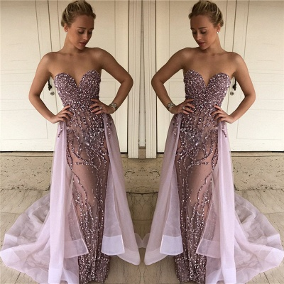 Lalic Sweetheart Beads Sequins Evening Dresses Overskirt Crystals Sexy Prom Dress FB0114_1