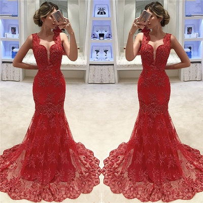 Sleeveless V-neck Mermaid Lace Evening Dress Red  Sexy Prom Dresses  Online_3